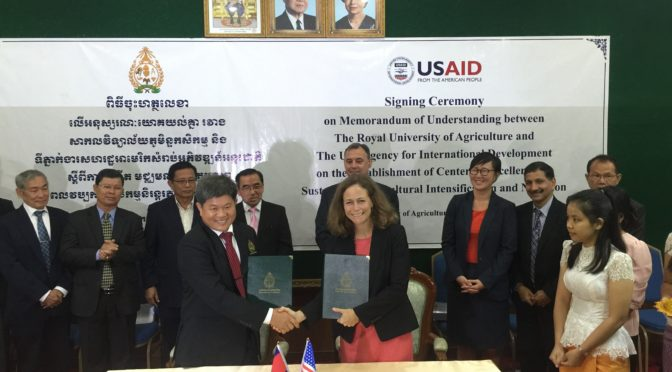 Officials from the Cambodian government, the U.S. Agency for International Development and Kansas State University recently signed a memorandum of understanding to establish the Center of Excellence on Sustainable Agricultural Intensification and Nutrition in Phnom Penh. Kansas State University will lead the $2.5 million project.