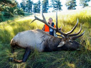 Hannah Helmer of Seward and her Nebraska state-record non-typical American elk that scored 430 6/8 on the Boone and Crockett scoring system. The 14-year-old harvested the bull near Crawford, Nebraska, on September 24, 2016. Courtesy Photo.