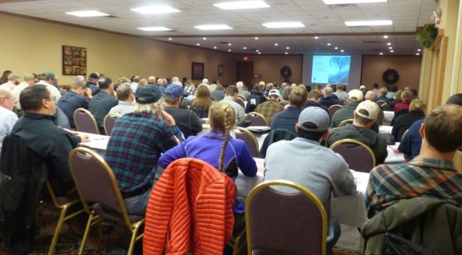 Courtesy/ Terri Licking.  Approximately 160 registrations from all across the state, KS, CO were on hand for the 4th Annual Prescribed Fire Conference. Here the group is listening to Jeanine Lackey of Fontelle Forest, Bellevue.