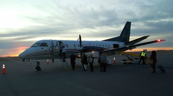 RRN/ Passengers boarded the inaugural flight for PenAir air service at Kearney Regional Airport on November 1, 2016.