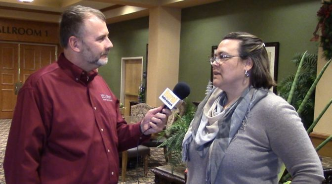 (L to R) RRN's Joe Gangwish with Ne Farm Business, Inc. Director Tina Barrett. (RRN Image)