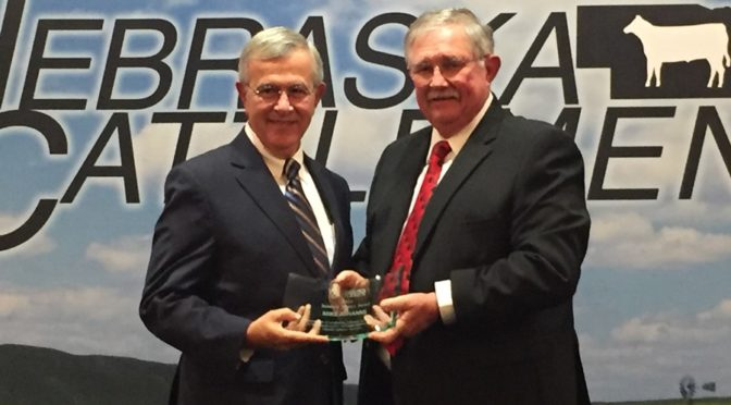 (L to R) Former Senator for Nebraska and Past Ag Secretary Mike Johanns accepts the 2016 Industry Service Award from Past NC President Dave McCracken. (RRN Image)