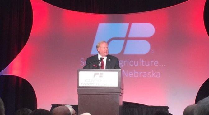 Nebraska Farm Bureau President Steve Nelson addresses the crowd at the 99th Annual Convention for the organization in Kearney. (RRN Photo)