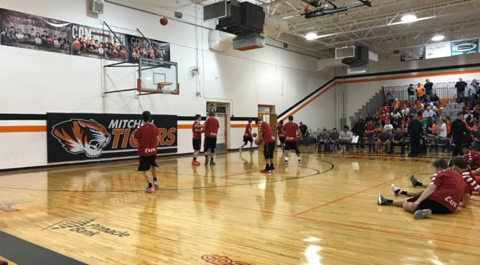 Scottsbluff boys warming up before their game at Mitchell Thursday night.