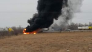 (Audio) No serious injuries in fiery two-semi crash on Interstate 80 near Odessa