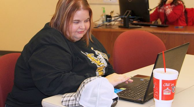 Courtesy/ Amy Taft, of North Platte, puts in some study time at Mid-Plains Community College. Taft graduated from MPCC with two associate degrees and is now pursuing a bachelor's degree, thanks to MPCC's partnership with Chadron State College.