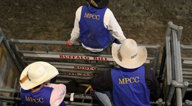 Courtesy/ MPCC. Members of the Mid-Plains Community College Rodeo Team wait their turn for the bull riding during the MPCC Stampede in September. The team will benefit from a banquet Feb. 4 at the Holiday Inn Express in North Platte.