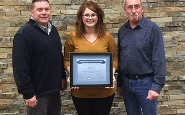 Courtesy/ Nebraska Department of Economic Development.  Tom Martin, Village Board Chairman, Ashley Rice-Gerlach, Nebraska Department of Economic Development and Ed Houlden, Redevelopment Authority Elwood is one of 38 communities to earn EDCC certification in the program, which is sponsored by the Nebraska Diplomats and administered by DED.