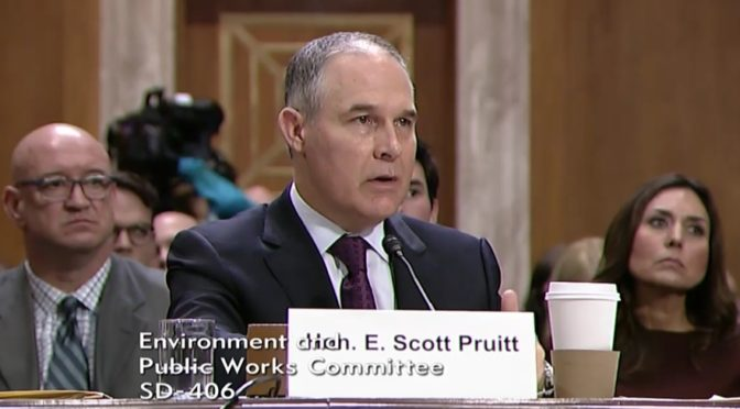 Oklahoma Attorney General Scott Pruitt takes questions from Senators during his confirmation hearing Wednesday. (Image courtesy of YouTube/Senator Fischer)