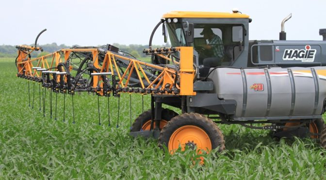 View of crop nitrogen sensors and high-clearance nitrogen equipment in action at five Project SENSE Demonstration Days this July and August.  (Image courtesy of cropwatch.unl.edu)