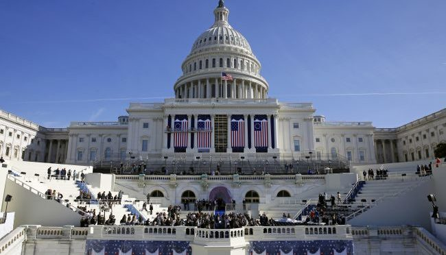 Courtesy/AP. In this Jan. 15, 2016, photo, the U.S. Capitol frames the backdrop over the stage during a rehearsal of President-elect Donald Trump's swearing-in ceremony in Washington. Some two dozen House Democrats plan to boycott Trump's inauguration on Friday, casting the Republican businessman as a threat to democracy. (AP Photo/Patrick Semansky)