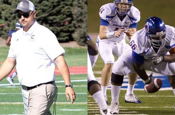 Courtesy/Concordia Athletics. Left, defensive coordinator Corby Osten, right, Thomas Byrd.
