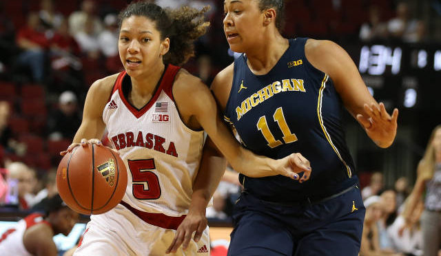 Freshman Nicea Eliely led the Huskers with 10 points and four steals against Michigan.  Photo Courtesy NU Sports Information