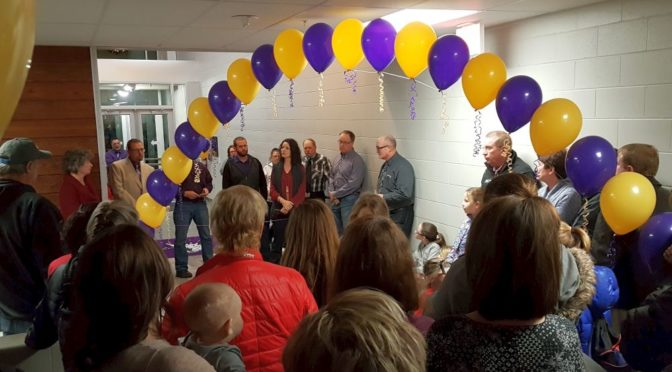 RRN/ School board members and administrators participate in ribbon cutting celebrating the completion of $4.35 construction and renovation project to school complex on January 10, 2016.