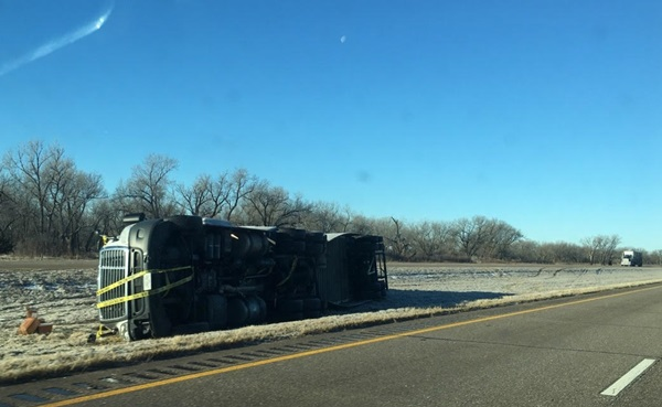 RRN/Semi on its side on I-80 westbound between Overton & Lexington  -- photo by Jesse Harding on Monday 1-16-17