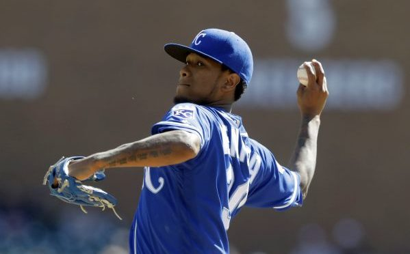 Kansas City Royals starting pitcher Yordano Ventura throws during the first inning of a baseball game against the Detroit Tigers, Saturday, Sept. 24, 2016, in Detroit. (AP Photo/Carlos Osorio)