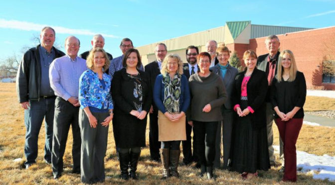 Pictured are members of the Expanding the Possibilities Campaign Leadership Team. Back row, from left to right: Kevin Kelley, Scott Wentz, Howard Olsen, Don Roth, Dr. Todd Holcomb, Rick Tuggle, Dr. Wil Packard, and Tim Daniels. Front row: Sheila Johns, Jennifer Rogers, Kristin Wiebe, Judy Chaloupka, Elaine Pile, Judy Amoo, and Allison Judy. Not pictured: Dr. John Harms, Rick orehouse, and Rich Stickney. WNCC photo
