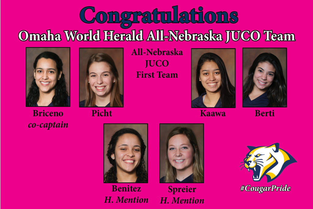 Six WNCC volleyball players recognized by OWH on All-Nebraska JUCO team