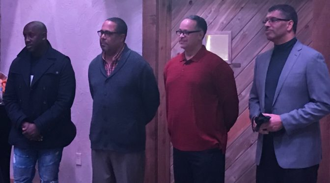WNCC'S Hall of Fame class was together at a function Sunday night. (pictured L-R; Bobby Jackson, Richard Lane II, Richard Walker, and Richard Lane Jr.)