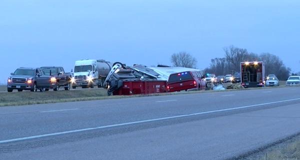 Semi crash on I-80 near Wood River requires hazardous materials response