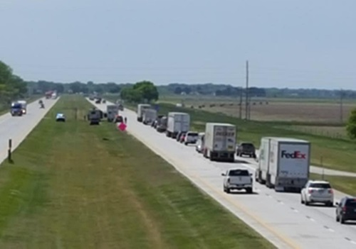 Minor Semi-RV  collision west of Lexington I-80 Interchange