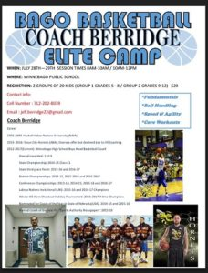 (AUDIO) Winnebago Boys Basketball Coach Berridge holding camp