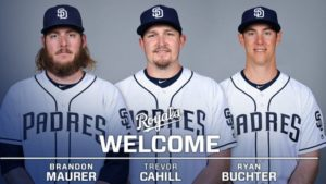 Royals acquire Butcher, Cahill & Maurer from San Diego
