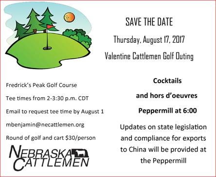 Nebraska Cattlemen Affiliate, Valentine Cattlemen, to Host Golf Outing