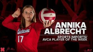 Nebraska Volleyball's Albrecht, Hunter Collect B1G Weekly Awards