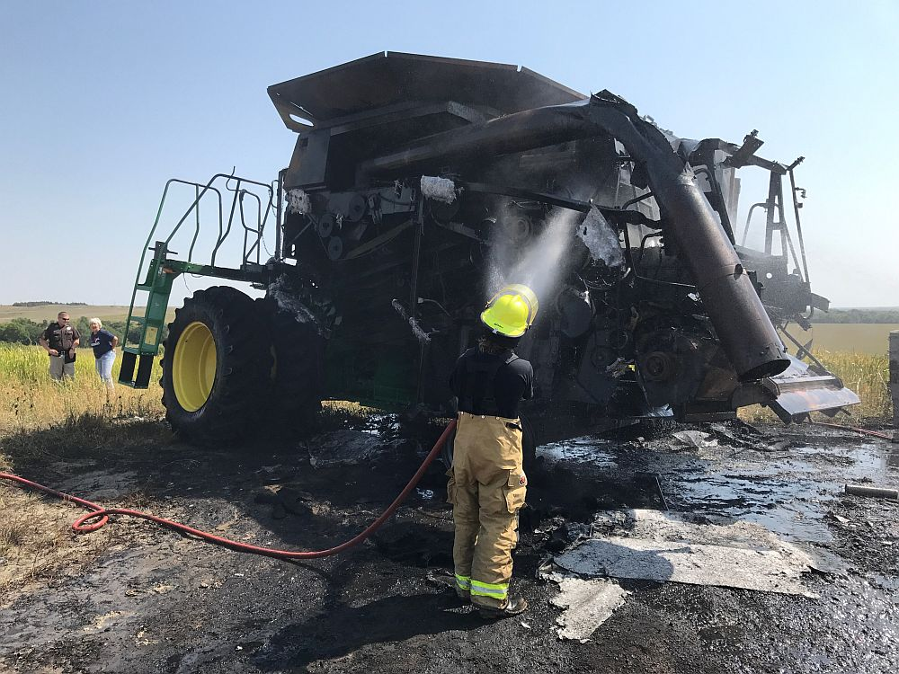 Fire destroys combine near Eddyville Friday