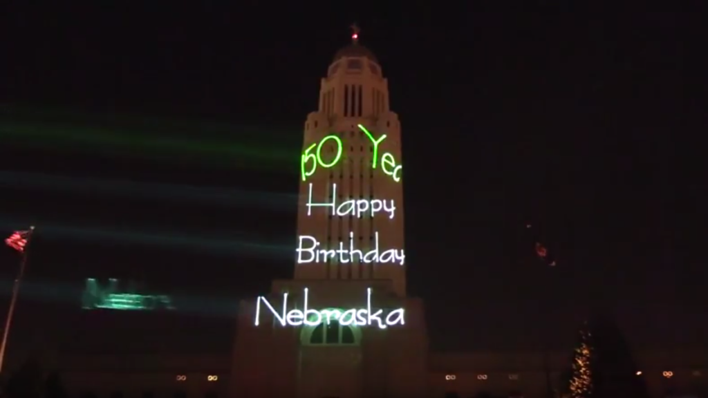 (Video) Laser light show celebrates Nebraska's sesquicentennial