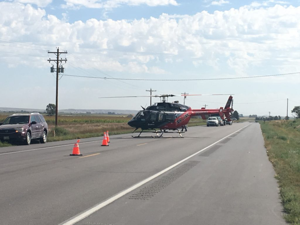 One person airlifted to RWMC following collision on Highway 26