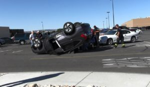 Unusual rollover in parking lot turns heads
