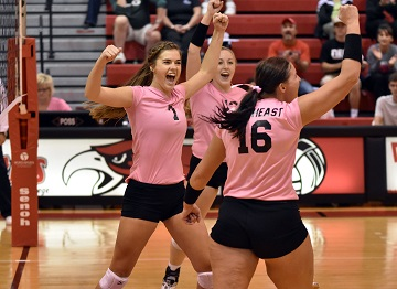 Northeast volleyball upsets Central at Dig Pink night