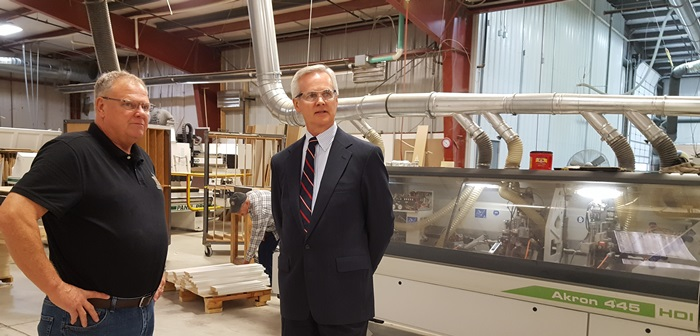 (Audio) Lt. Gov. Mike Foley tours Designer Craft Woodworking of Lexington