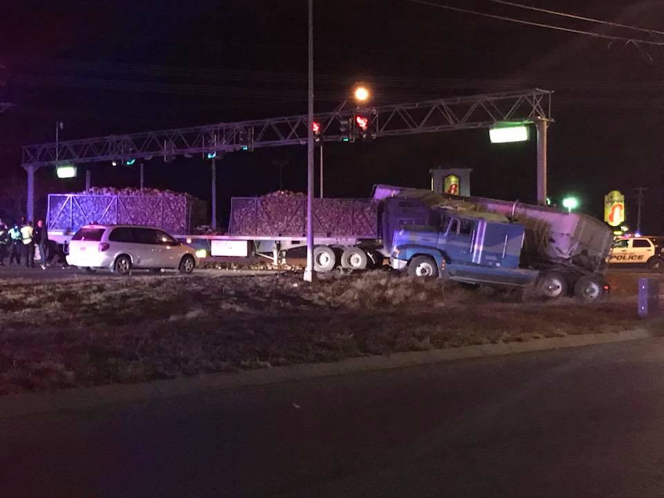 Drivers escape serious injury in collision of farm trucks