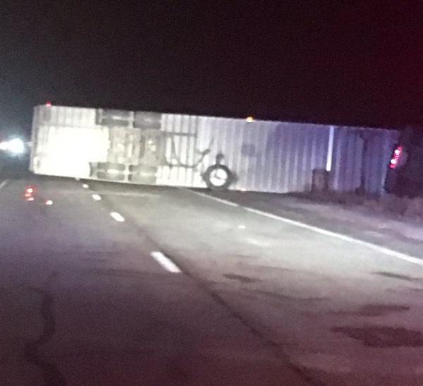 Semi rollover closes I-80