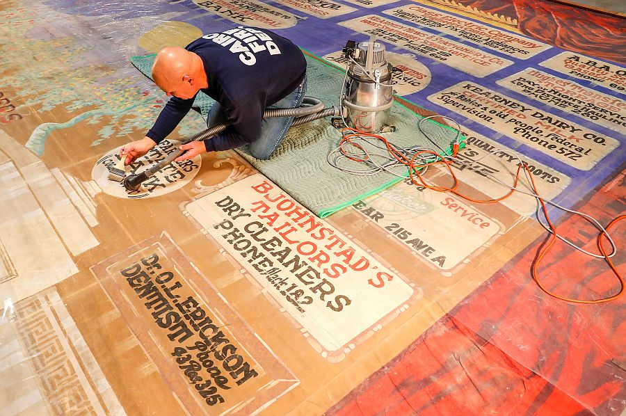 UNK preservation class helps restore historic opera house curtain