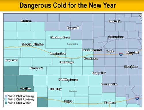Dangerously cold temperatures and wind chills through New Year's Day