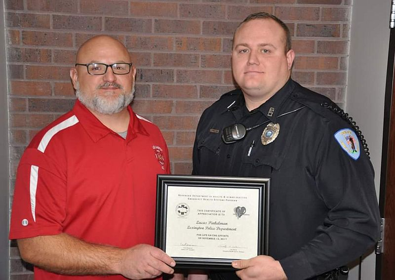Lexington police officer recognized for life saving actions