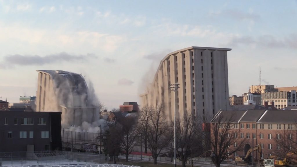 Two University of Nebraska dorms collapse in planned implosion