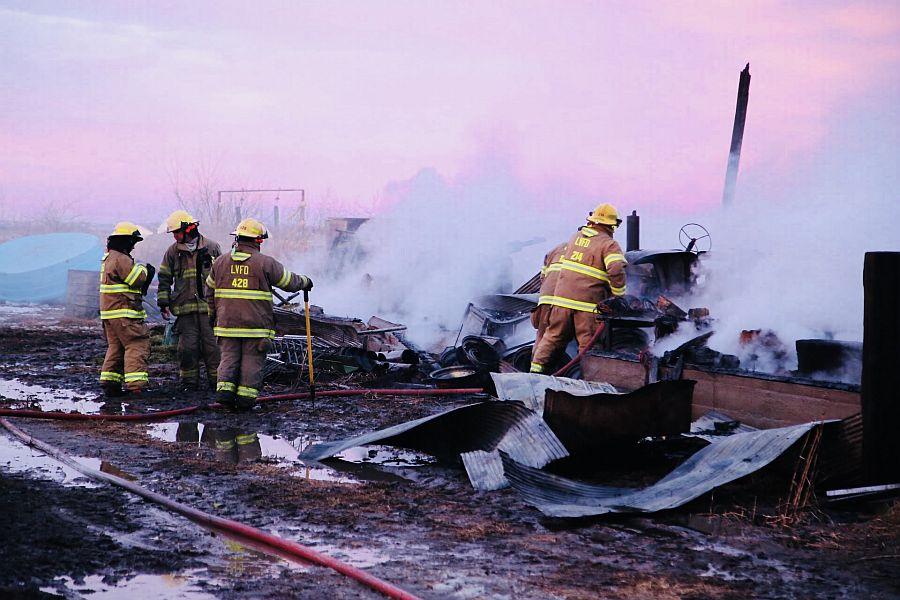 Rural Overton fire destroys building