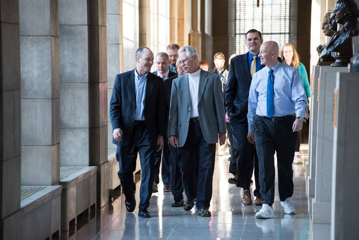 Governor Ricketts leads the Governor's Walk with Dr. Tom Williams of DHHS and Dave Mlnarik of the Nebraska Sports Council