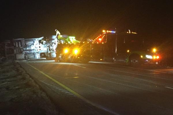 Interstate 80 westbound from Brady closed for overturned semi