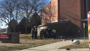 Woman hospitalized after car crashes in to Scottsbluff church