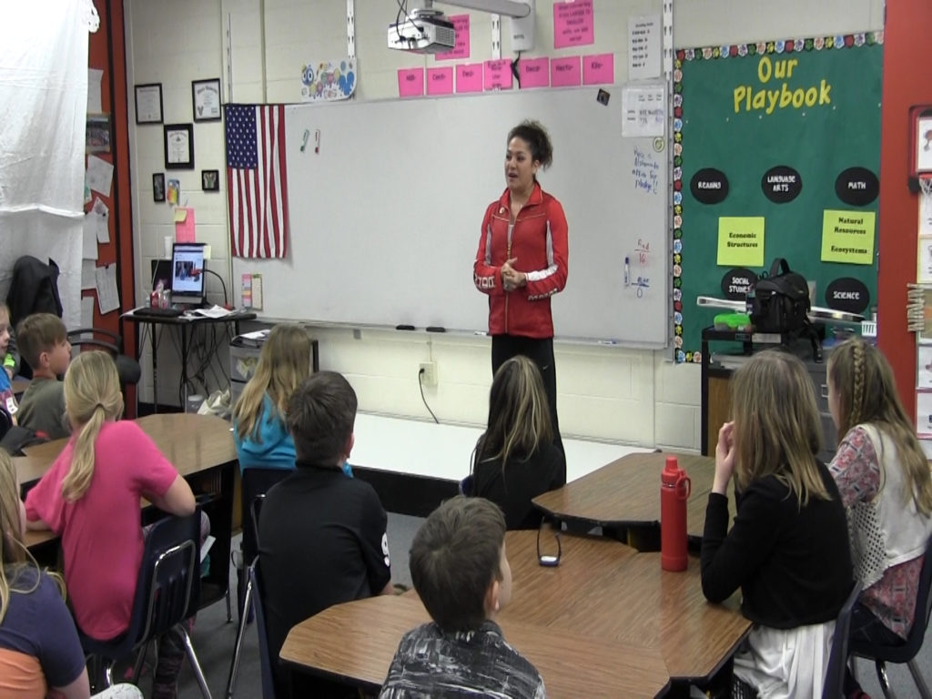 Olympic medalist visits Geil Elementary Students