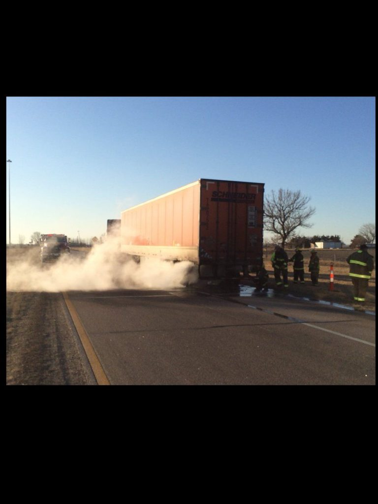 Trailer on semi catches fire at Overton I-80 off-ramp