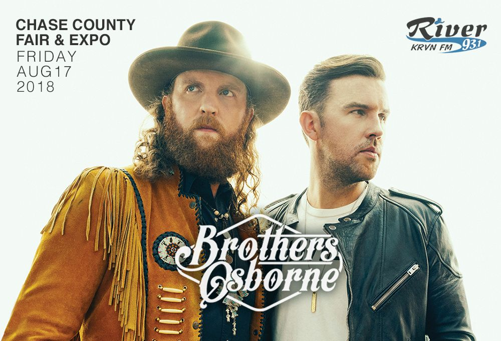 Brothers Osborne performing at Chase County Fair & Expo on Friday August 17, 2018!