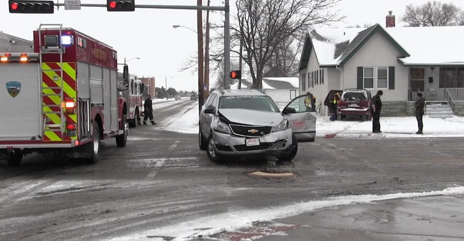 Slick roads causing accidents Friday morning
