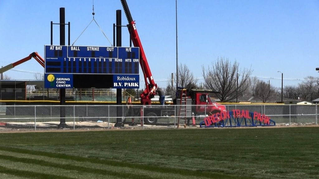 Scoreboard installation shows Pioneer baseball right around the corner
